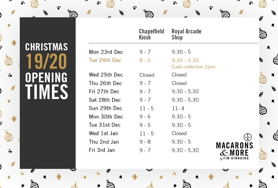 Macarons and More Christmas Opening Times