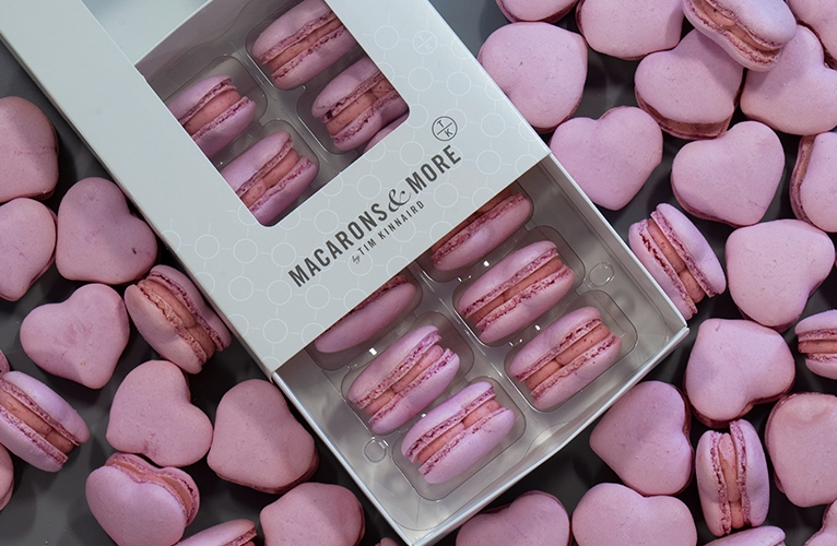 Raspberry heart shaped macarons for valentines day