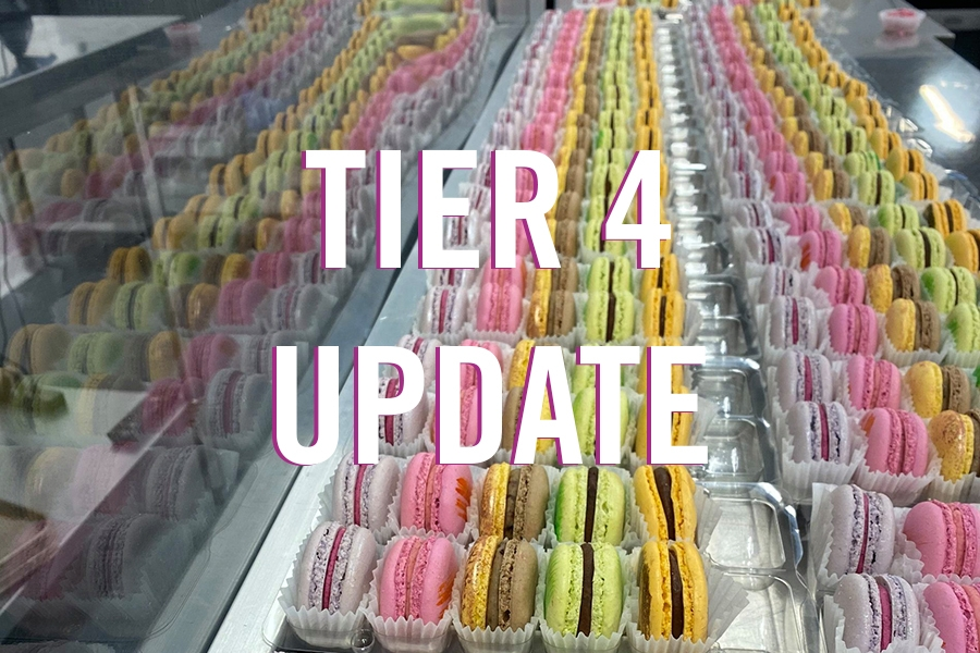 Rows of beautiful macarons under text that reads Tier 4 Update
