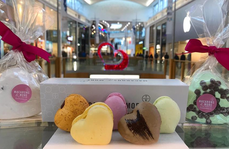 Giant heart shaped macarons and marshmallows for valentines day